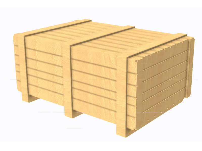 Wooden crate side view